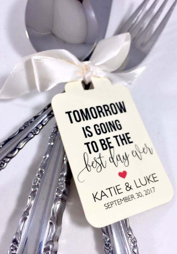 Wedding Rehearsal Dinner Gifts: Best Day Ever Wedding Rehearsal Dinner Wedding Favors Tags