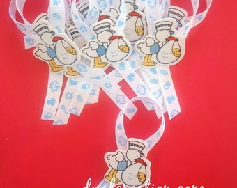 Baby Shower Guests Pins/Baby Shower Games/Storks/Baby Girl/Baby Boy/Favors
