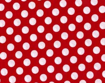 Ta Dot .5 half inch across Polka Dots Fabric Michael Miller White on Red