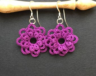 Flower Lace Earrings (Dark Grape)