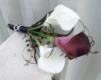 Bridal bouquet, Plum and white Bridesmaid bouquet, Real touch wedding flowers, Calla lily bouquet