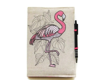A5 notebook and pen, flamingo gift set, personalised flamingo planner cover, pink and grey embroidered linen reusable journal cover.