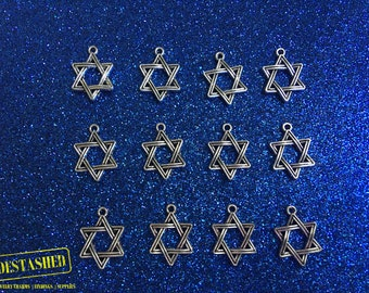 Star Of David Tibetan Silver Charms Wholesale 12 Pieces