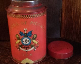 Vintage 60's Red Jackson of Piccadilly Tea Tin