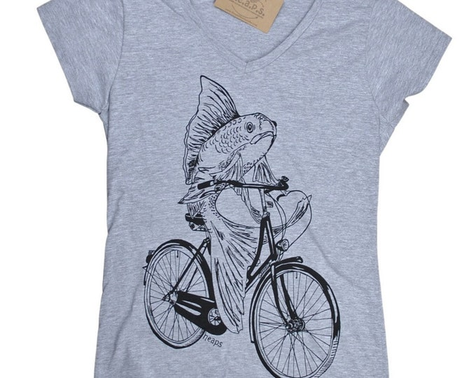 Womens T Shirts - V Neck Womens Tee - Fish on a Bike T Shirt - Womens Nautical Tee - Funny TShirts - Hipster Tee Shirt - Gift for Friend