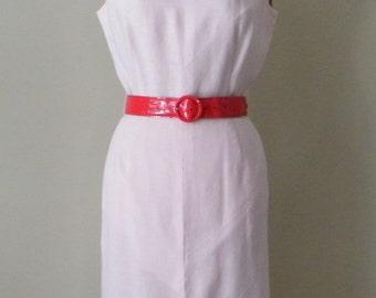 Vintage 1950s Pink Wiggle Dress, Linen Dress, Pale Pink Dress, Vintage Pencil Dress, Pink Wiggle Dress, MadMen Style Dress, 50s Dress, Small