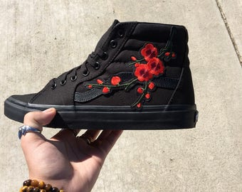 Embroidery cherry blossom high top vans