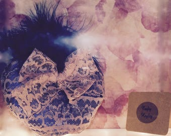 Pink lace bow and blue feather pillbox hat