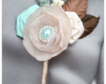 Groom Boutonniere Wedding Corsage with Handmade Flowers, Stamens and Brooch Ivory, Tan, Champagne and Aqua (Mint)