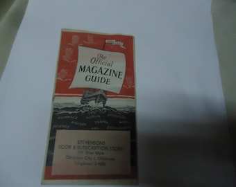 Vintage 1944-45 The Official Magazine Guide, Stevensons Book & Subscription Store, Oklahoma City, Oklahoma, collectable