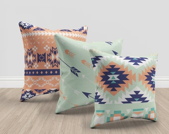 set of 3 aztec mint, coral and blue throw pillows, aztec throw pillows, geometric throw pillows, set of 3 throw pillows, couch decor pillows