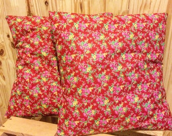 Japanese red flower Cushion cover