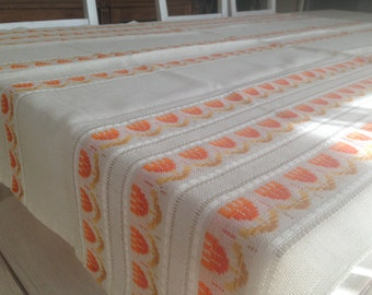 Woven table cloth with tulips White orange Table cloth Tulip table cloth Woven Swedish table cloth