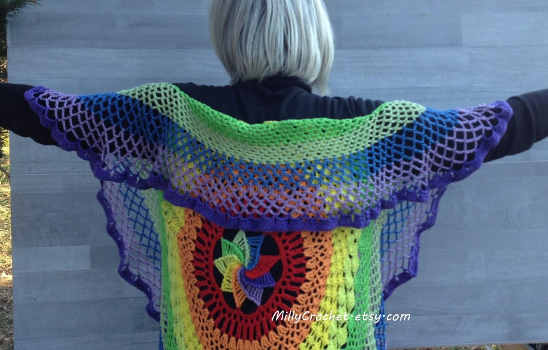 Regenbogen-Mandala-Weste / Strand-Cover up / Zigeuner Schal /