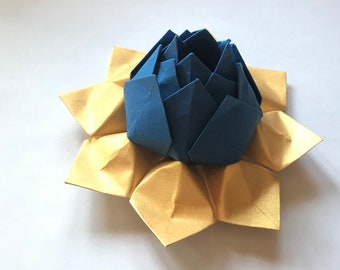 Custom Listing for Alexandra for blue and gold origami lotus flowers