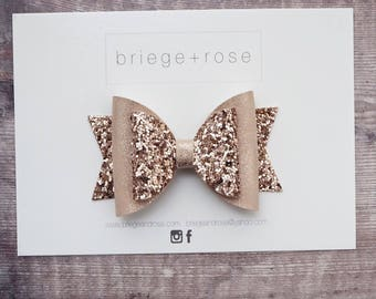 rose gold glitter hair bow, faux leather bow, toddler girls hair accessories, flower girl headband, Valentines day gift for kids, Spring