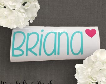 Name with Heart Decal | Name Decal | Heart Name Decal |  Laptop Decal | Tumbler Decal | Vinyl Sticker | Name sticker  | Heart sticker