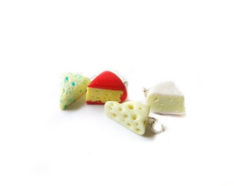 Cheese Platter Charm Collection, Polymer Clay Cheese Charm, Cheese Wedge Miniature Food Jewelry, Brie Bleu Cheese Swiss Gouda