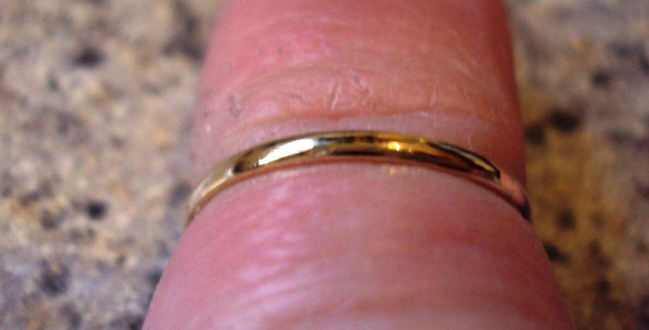 Etsy jewelry thin gold band rose gold ring 14g half round