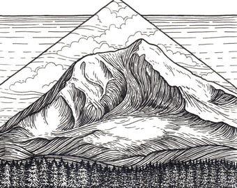 Mt Adams 8x8 Print - Mountain Art Giclee Print - Pen and Ink Washington Landscape Drawing
