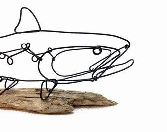 Trout Wire Sculpture, Fish Wire Art, Minimal Wire Design, 601367191