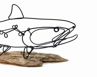 La truite fil Sculpture, poisson fil Art, fil Minimal Design, 601367191