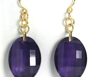 Purple Faceted Oval Drop Earrings, Fancy Earrings, Dangle Earrings, Mother's Day Gift