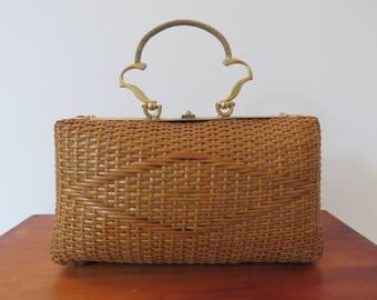 vintage Wicker rattan and metal purse gold mid century 1960 60s french vintage rattan handbag