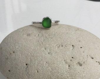 Green Seaglass Ring, Seaglass Ring, Seaglass Jewellery, Green Ring, Silver Ring, Stacking Ring, Cornish Seaglass