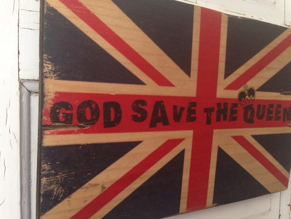 Union Jack Art, God Save The Queen, Vintage British Flag On Wood, UK Distressed Flag, Boys Room Decor, Union Jack Decor for Punk Rock Lover