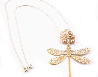 White Gold Patina Dragonfly Pendant Necklace Sterling silver Chain