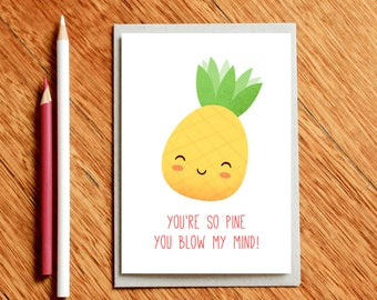 Valentines Card, Funny Valentine's Day Card, Pineapple Card, Love Card, Funny Valentine Card, Foodie Gift, Funny Birthday Card, Pun Card