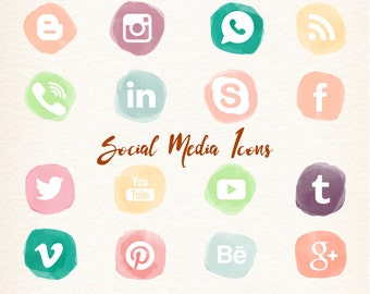 Social Media Icons vector clipart for Blogs & Websites  watercolor icons