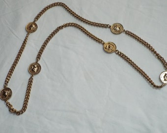 Vintage faux gold chain coin necklace