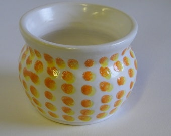 White wheel thrown Pot with Orange and Yellow Dots