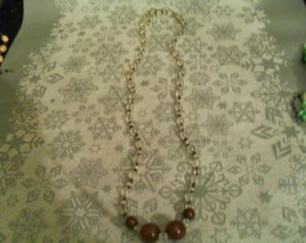 beautiful unique Brown and white necklace