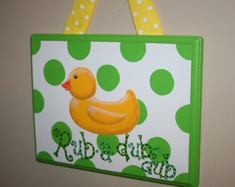 Apple Green RUBBER DUCKY Duck Hanging Painting Bathroom