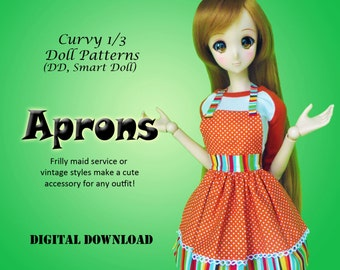 Vintage Maid Apron clothes pattern for Curvy 1/3 BJD: SD, SDGR, Dollfie Dream, Smart Doll