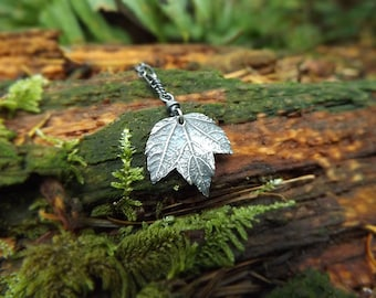 Acer spp. - Tiny Maple Leaf - Fine Silver Real Botanical Leaf Pendant  by Quintessential Arts