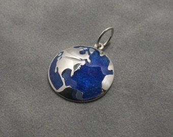 Earth pendant - Sterling silver - Blue enamel glass