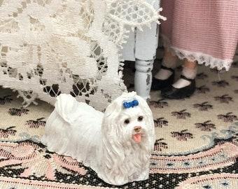 SALE Miniature White Maltese Dog Figurine, Mini Standing Dog, Dollhouse Miniature, 1:12 Scale, Miniature Dog, Tiny Dog, Dollhouse Pet