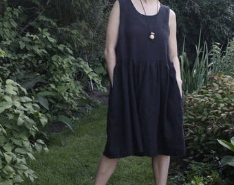 Vasilisa Frock (short) linen dress / linen clothing / women's clothing / sleeveless linen frock