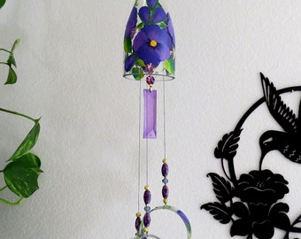Glass Wind Chime, Recycled wine bottle wind chime, Flowers, Sun catcher, Purple Pansy, yard art, clear glass, Pansy, Pansies
