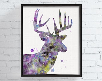 Deer Portrait, Watercolor Deer, Deer Art Print, Deer Painting, Woodland, Nursery Wall Art, Watercolor Animal, Deer Poster, Deer Illustration