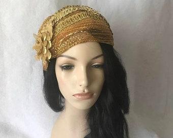 Gold 1950s - 1960s Bridal Wedding hat, Gold Church hat, Gold half hat, Gold Flapper hat, Gold Vintage hat, Gold Juliet cap hat, Gold hat