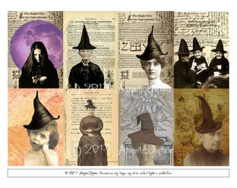 Halloween Witches ATC Collage Sheet--8 cards