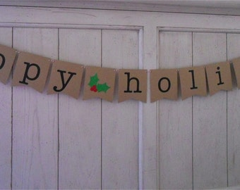 Happy Holidays Banner . Happy Holidays . Holidays . Holiday Decoration . Christmas Banner . Glitter . Customize Bunting Flag Color