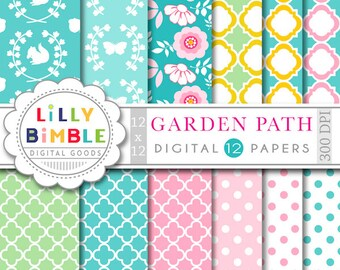 Garden Party digital papers with flowers, butterflies, woodland scrapbook floral paper pack INSTANT DOWNLOAD