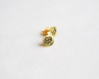 Gold Om earrings, white, rose, yellow, Yoga post earrings, Gold studs, post, Om earrings.