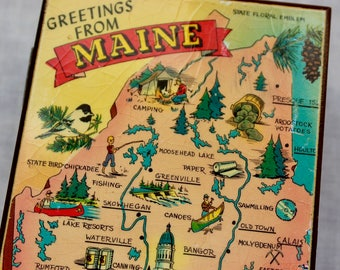 Vintage Maine Souvenir Wooden Box Cedar Retro 1950s Map